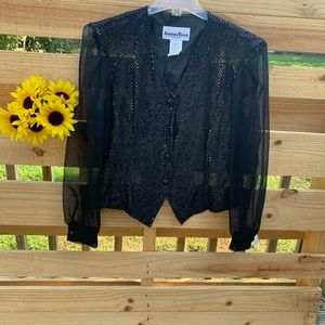 Black Sequins and Chiffon Blouse Size Large